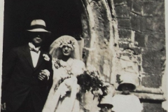 Marriage circa 1920's outside south porch St Mary's.