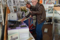 Paul and Phil setting up our 'Cowtown' exhibition Brixham Library.