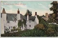 Coloured postcard St Mary's cottages.
