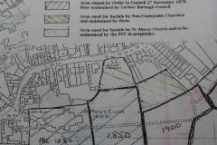 Early map of St Mary's grave yard plots.